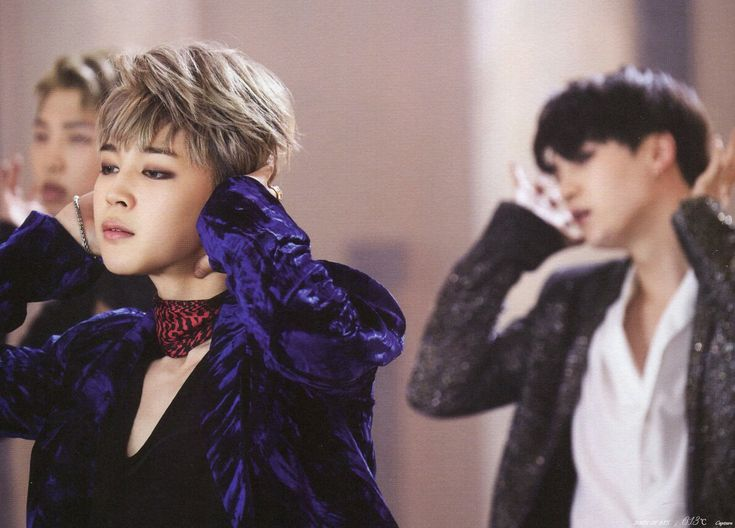 BTS' (left to right) Rap Monster, Jimin, and Suga (Blood, Sweat, and Tears choreography)