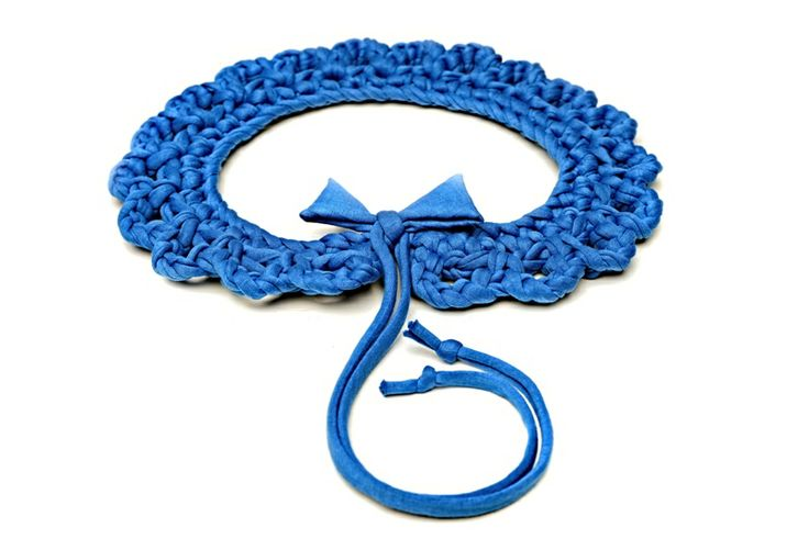 Maccheron 100% Fabric Crochet Collar (blue) - Designed and handmade with ♥ ...in Budapest ...by me :-) Like my page on FB: www.facebook.com/Maccheron