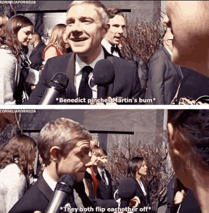 When he and Martin Freeman shared a moment on The Hobbit red carpet. | 37 Times In 2013 Benedict Cumberbatch Proved He Was King Of The Internet