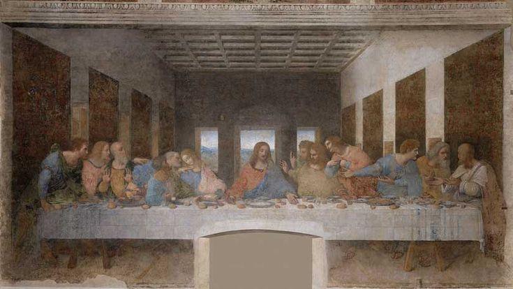 """Eines der berühmtesten Gemälde überhaupt: """"Das Abendmahl"""" von Leonardo da Vinci. Das Bild zeigt Jesus, der mit seinen 12 Aposteln an einer langen Tafel sitzt."""