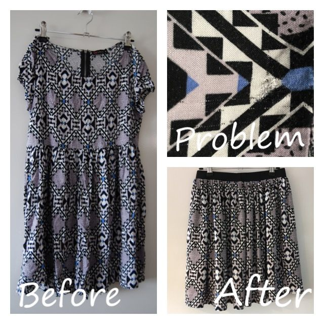 This dress had a hole and tear just above the waist line, but no worries, I refashioned into a skirt.   @trixiescraftco