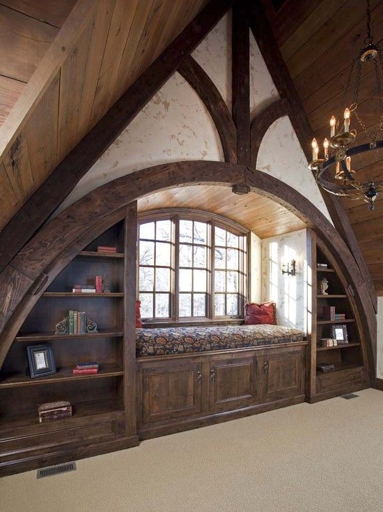 "j- if can't do big window, do this to make a decorative end space in master?  Last comment ""Nice reading window in master bedroom or something to that effect""  ""Love an attic space""  ""For attic space...Loft shape...Great loft idea...Think attic...Finished attic...Attic space"""