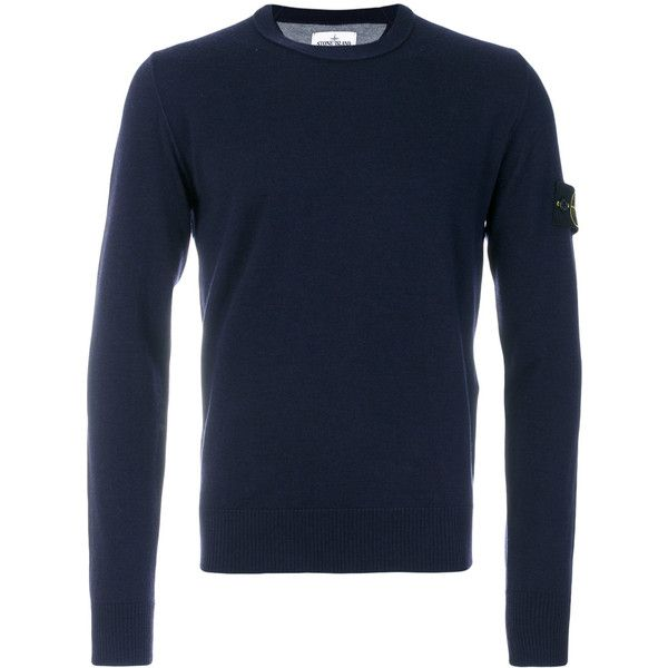 Stone Island crew neck jumper (790 BRL) ❤ liked on Polyvore featuring men's fashion, men's clothing, men's sweaters, blue, mens blue sweater, mens crew neck sweaters, mens military sweater and mens crewneck sweaters