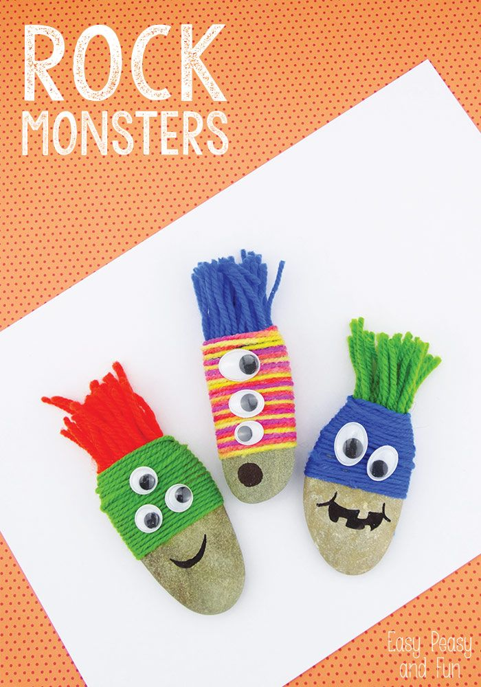 Yarn Wrapped Rock Monsters - Rock Crafts - Easy Peasy and Fun