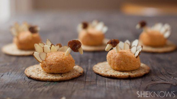 Sick of the usual cheeseboard platters? Try making Mini turkey-shaped cheese balls that can be an appetizer or a quick snack  making your #Thanksgiving table something to gobble over. Instead of Cheddar Cheese, try #Parrano