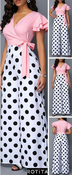 That 90's grunge is never going to go away. The Polka Dot Print Jumpsuit look can be worn in a preppy, rocker or urban style. It can be paired wit…