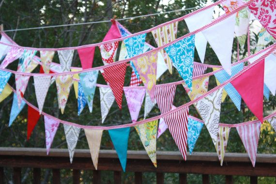 80 Feet of Bunting Custom Wedding Flag Banner by StarlitNestGifts choose your own colors
