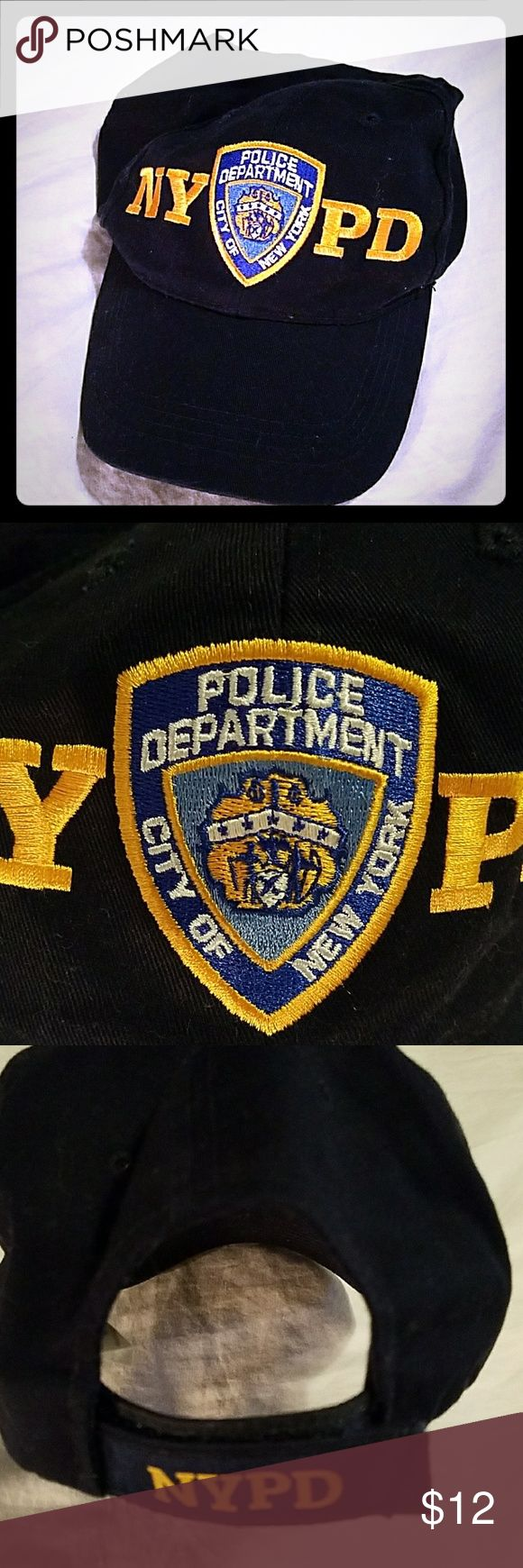 NYPD Police Department city of New York Hat Dark blue NYPD police department city of New York Hat adjustable via Velcro on the back. NYPD in gold on the back strap. Excellent condition. nypd Accessories Hats
