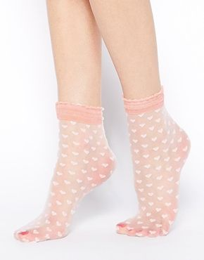 ASOS Socks With Sheer Heart Design