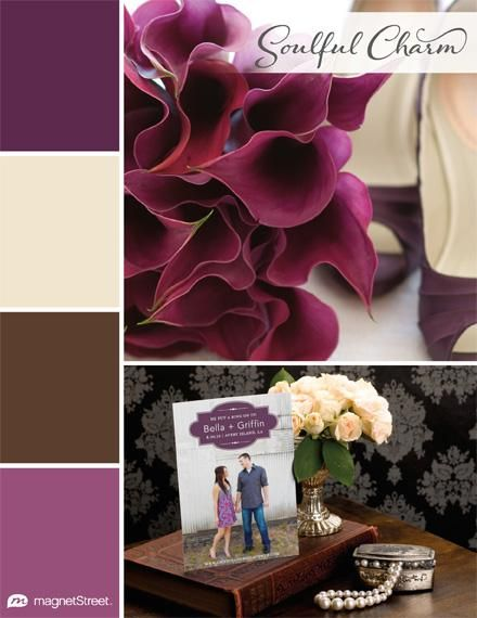 Wedding Color Palette Trend: Soulful Charm via MagnetStreet | Featuring: Eggplant, Champagne, Brown, Mulberry
