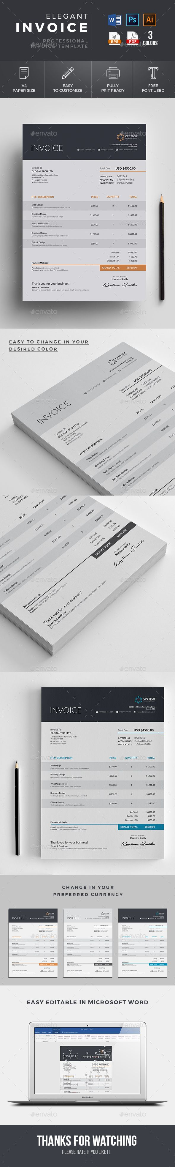 #Invoice - #Proposals & Invoices #Stationery Download here: https://graphicriver.net/item/invoice/19283408?alena994