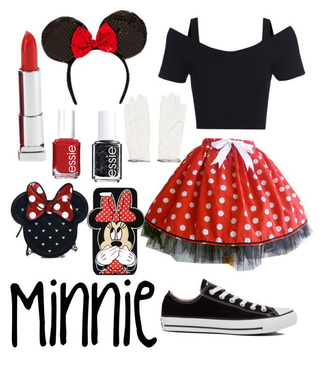 """""""Minnie mouse halloween costume"""" by hoppergrasser ❤ liked on Polyvore featuring moda, Converse, Chanel, Forever 21, Maybelline, Essie ve Loungefly"""