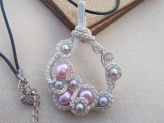 Pearl wir work pendant  Wire wrapped by KTGemstoneCreations