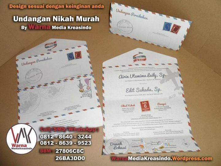 Undangan unik berbentuk dan tema Air Mail (amplop surat)  - whatsapp: 081286403244 website: warnamediakreasindo.wordpress.com #undangan #pernikahan #wedding #invitation #airmail #amplop