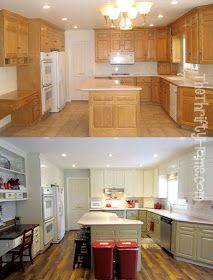 This Blogger Breaks Down The Steps She Took To Paint Glossy Honey Oak  Cabinets Without Sanding · Kitchen MakeoversRoom ...