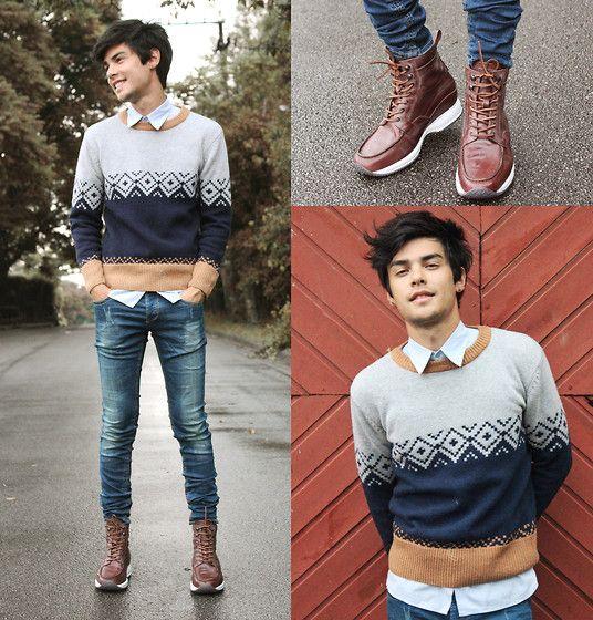 Guidomaggi Shoes, Choies Men's Brown Vintage Knit Jumper, Rum Jungle Jeans