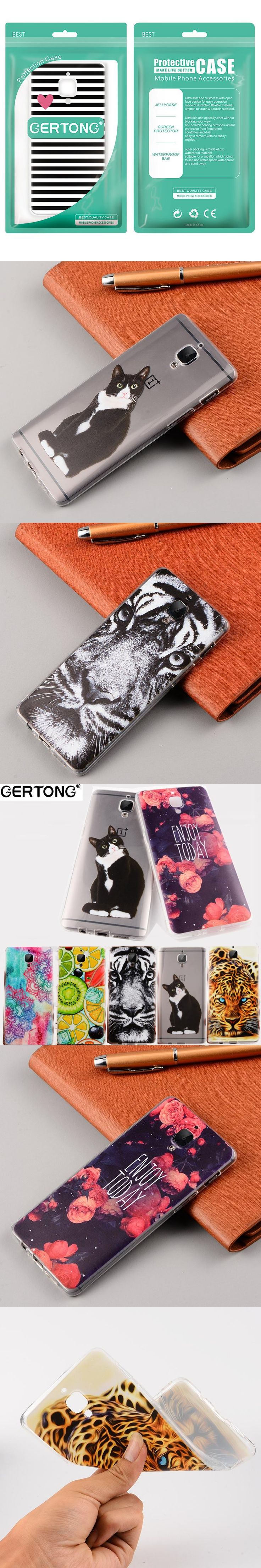 GerTong Cover Case For Oneplus 3T 5 3 X Coque Cases For One Plus + 3T 5 3 T Three Phone Back Pattern Soft TPU Coque Capa Cases