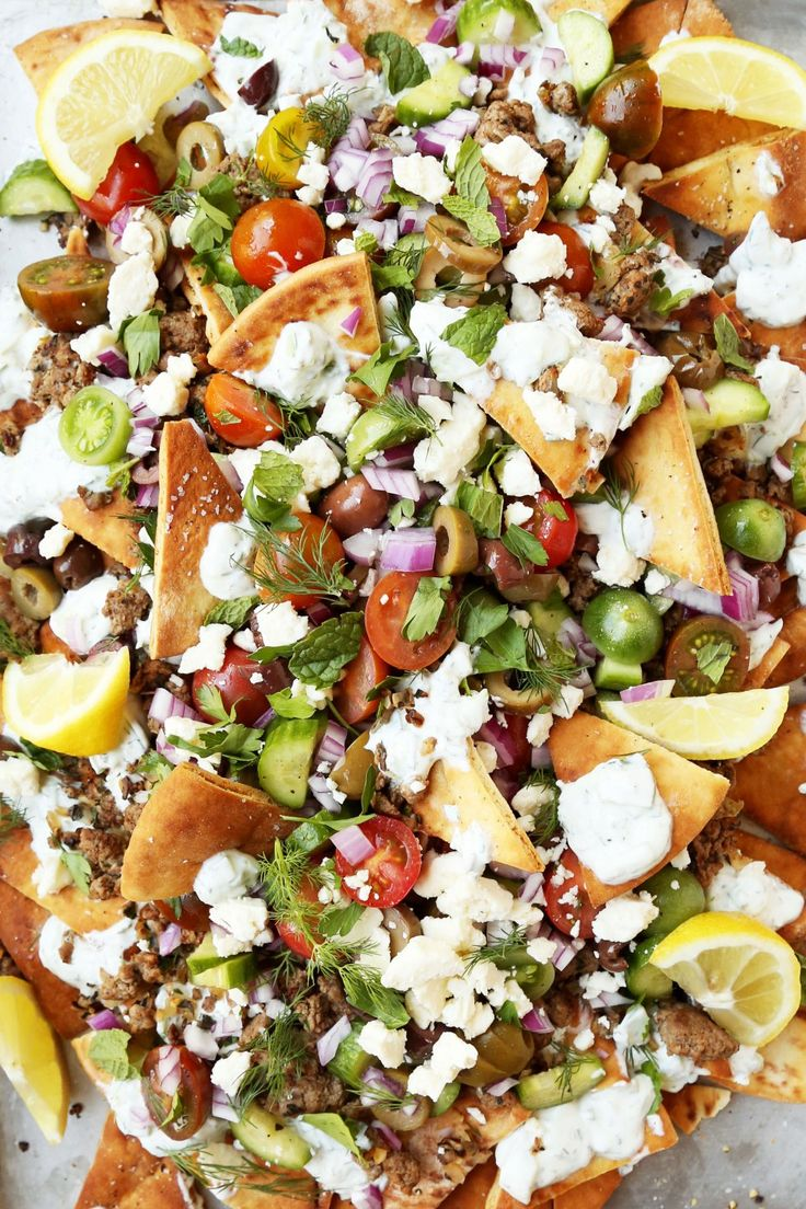 Greek Nachos. Make without the meat and pre-packaged pita chips = no bake