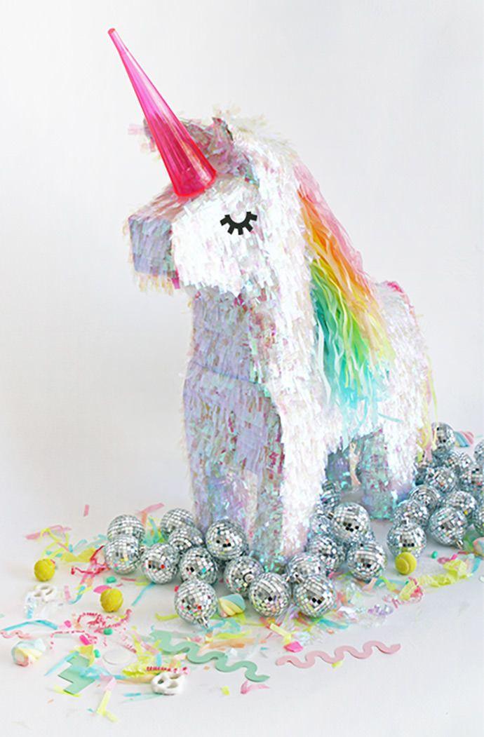 DIY Kids Party - Unicorn Pinata Makeover, tutorial via Oh Happy Day.