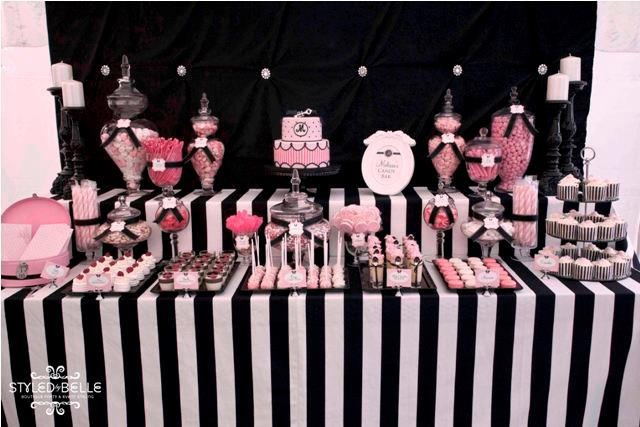 Pink & Black party table!                                                                                                                                                                                 More