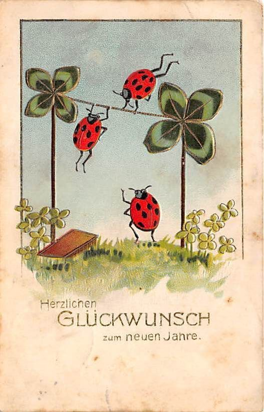 Early New Year Greetings Postcard Fantasy Lady Bugs Insects XB6634 | eBay