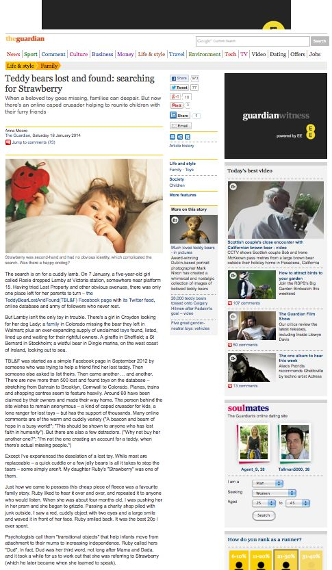 the Guardian  http://www.theguardian.com/lifeandstyle/2014/jan/18/teddy-bears-lost-and-found-searching-for-strawberry