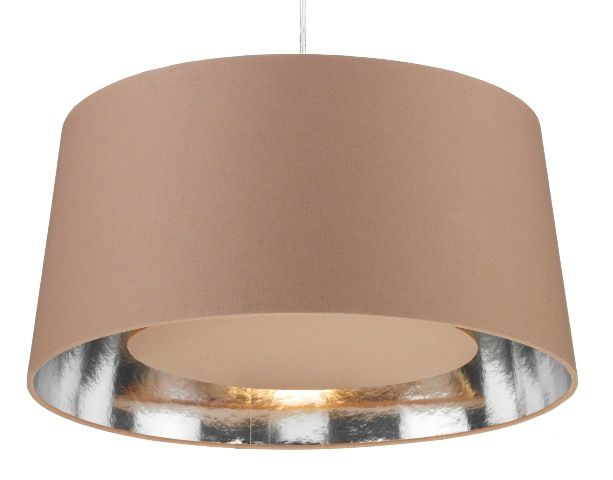 The bugle is a taupe non electric lampshade with silver lining and taupe buffer a