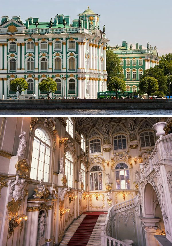 """The State Hermitage Museum, St. Petersburg, Russia. Founded by Catherine the Great in 1794. [Watch """"The Russian Ark,"""" it's an amazing, gorgeous history of Russia in one take throughout the Hermitage]"""