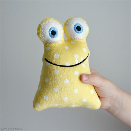 Rattle Monster Yellow Polka Dots