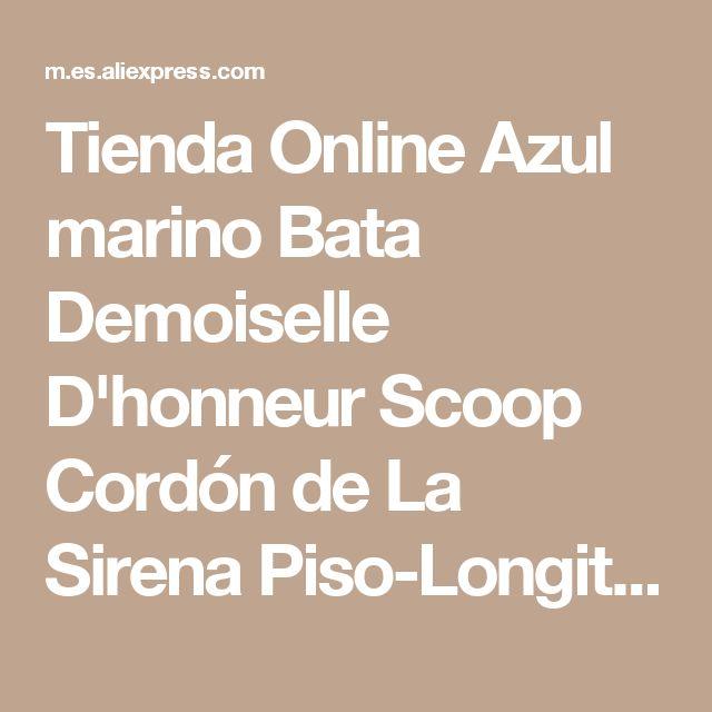 Tienda Online Azul marino Bata Demoiselle D'honneur Scoop Cordón de La Sirena Piso-Longitud Gasa Vestido de Dama de honor 2016 Vestidos para Invitados de Boda BM460 | Aliexpress móvil