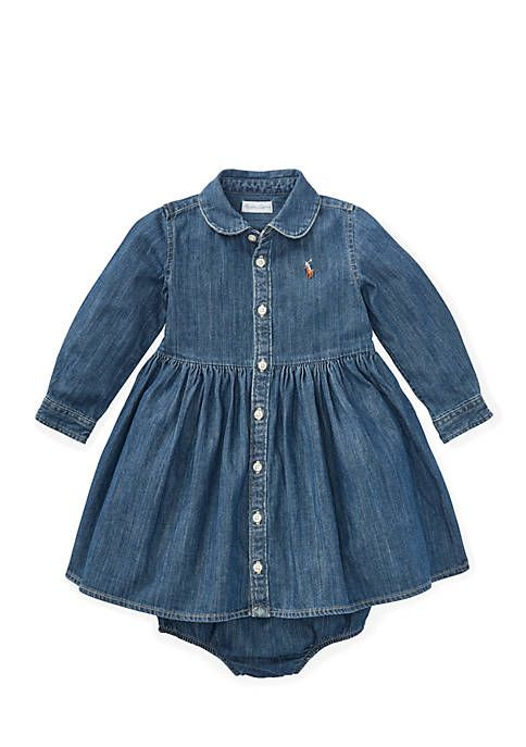b58c7f5be Ralph Lauren Childrenswear Infant Girls Denim Shirtdress and Bloomer ...