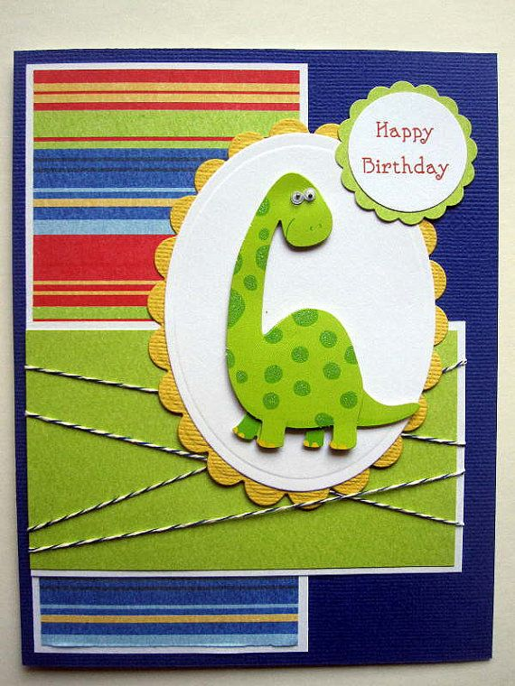 Dinosaur Birthday card for boy can be by BellaCardCreations, $4.50
