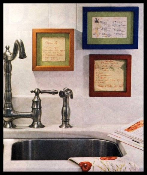 Frame your mother's/grandmother's handwritten recipes in your kitchen.  FABULOUS idea!!Hands Written, Kitchens Decor, Frames Recipe, Mothersgrandmoth Handwritten, Recipe Cards, Handwritten Recipe, Families Recipe, Family Recipes, Old Recipe