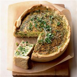 Pancetta, pea, mint and Cheddar deep tin tart recipe. This deep-filled tart is so simple to make that it doesn't even need blind baking and is perfect served with a cress and watercress salad. Leave out the pancetta to make this veggie friendly.