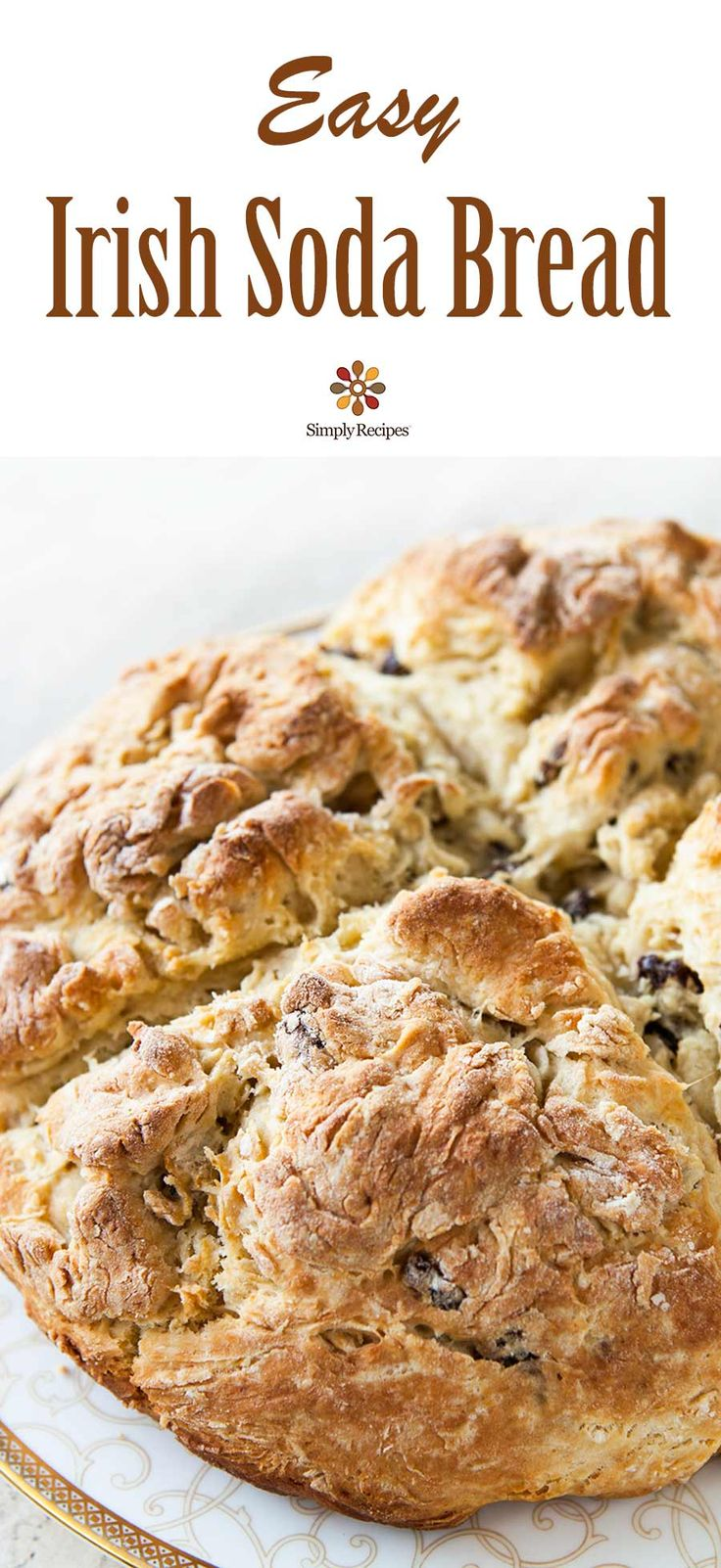 The BEST Irish Soda Bread! Quick and EASY too. All you need is flour, baking soda, salt, buttermilk to start, then you can fancify with raisins and egg. On SimplyRecipes.com #IrishSodaBread #SodaBread #StPatricksDay