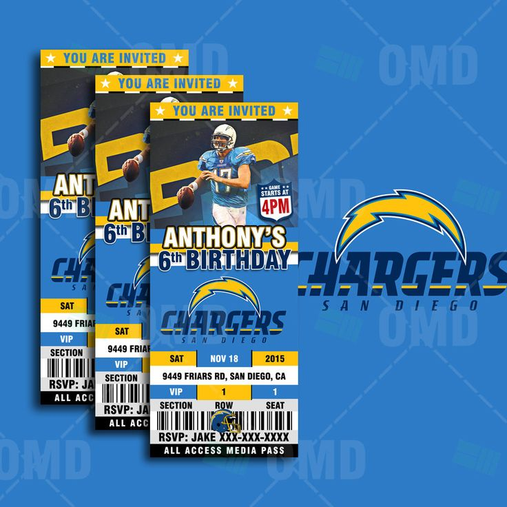 2.5x6 San Diego Chargers Sports Party Invitation, Sports Tickets Invites, Football Birthday Theme Party Template by sportsinvites on Etsy