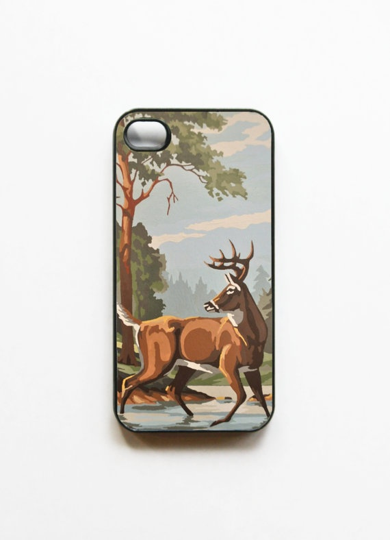 iPhone 4 Case Vintage Paint By Number Deer by onyourcasestore