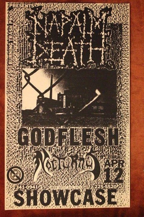NAPALM DEATH + GODFLESH San Antonio TX (1991) ORIG Grindcore Metal Flyer/Poster