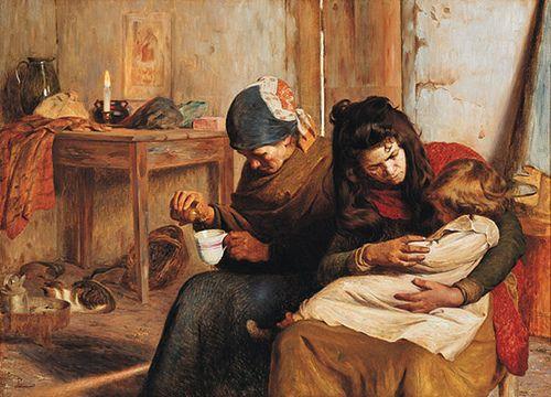 Pedro Lira (Chile, 1845-1912). El niño enfermo.