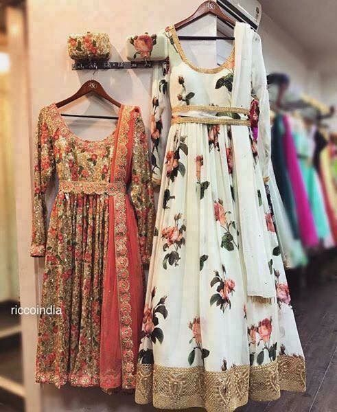 Custommade gold Anarkali and white floral Anarkali with custom clutches