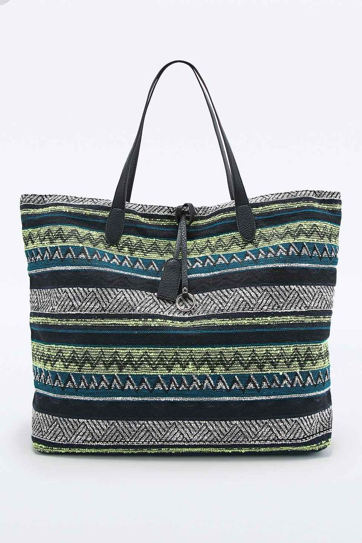 Ecote Oversized Tapestry Beach Bag in Neon Lime