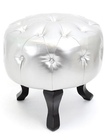 Chaise Lounge Sofa Modern Metallic Silver Round Pouf Crystals Jewel Tufted Bling Ottoman Footstool eBay
