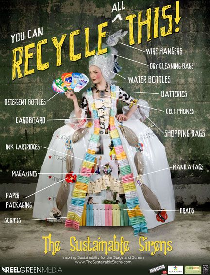 "How fabulous is this ""Let Them Recycle"" Marie Antoinette-style gown designed by Kresta Lins as part of Reel Green Media's Sustainable Sirens campaign >> https://www.facebook.com/photo.php?fbid=497664513591247=a.248692471821787.73856.152992901391745=1"