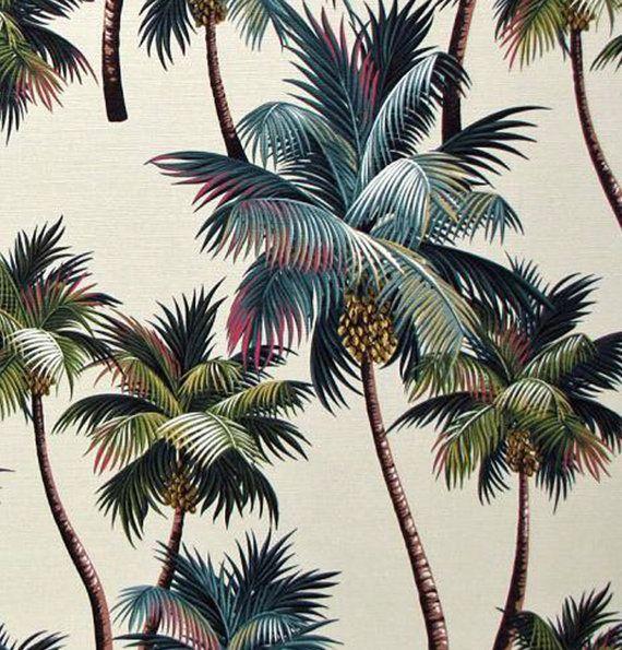 Palm Tree Fabric Hawaiian Upholstery High by HawaiianFabricNBYond