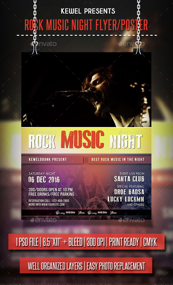 Rock Music Night flyer / Poster
