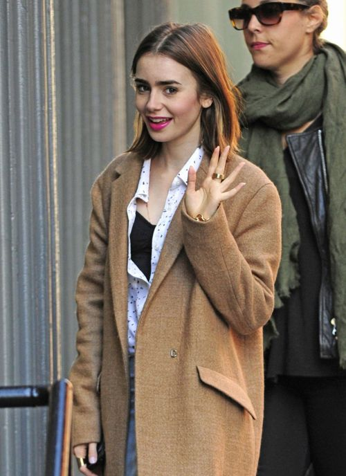 Lily Collins out in NYC.