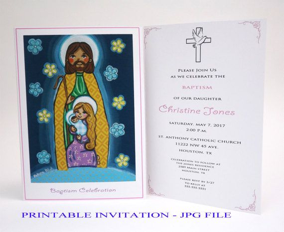 Girl baptism invitation Girl christening invitation girl Baptism invites Christening invites Holy Family Baptism card Bautizo Invitacion