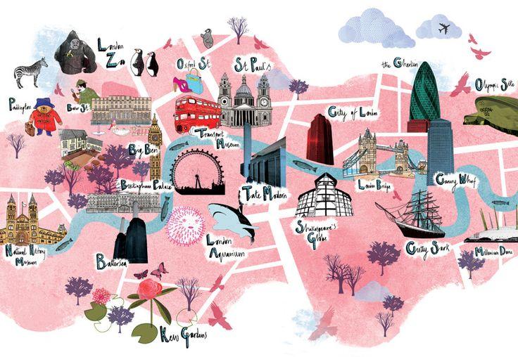 Illustrated map of London. Collaboration with Tonwen Jones. #illustration #map
