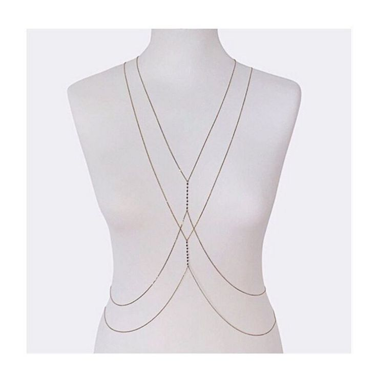 NIVES I Body chain pattern with two rosary body chains worn together. Black diamonds with 18k light yellow gold. Perfect festival and summer style. www.nives.com