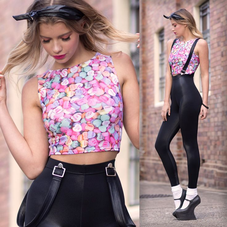 Candy Hearts Wifey Top - 48HR (WW ONLY $50AUD) by Black Milk Clothing